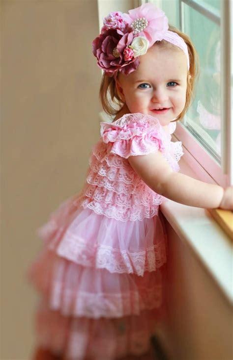 baby pink chiffon lace newborn headband vintage style pink lace dress headband set toddler dress baby dress