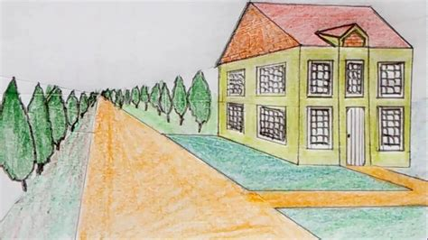 one point perspective house how to draw the house in one point perspective near the road youtube