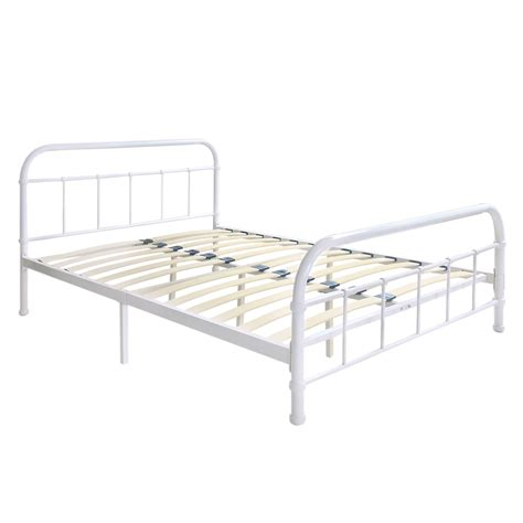 King Size Platform Bed Frame White 4 Ikayaa Metal Platform Bed Frame With Wood Slats