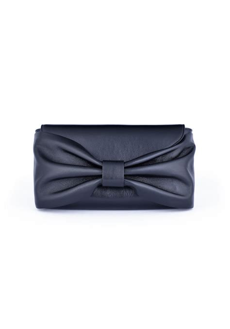 Valentino Flat Bow Clutch by Valentino Valentino Bow Leather Clutch Black