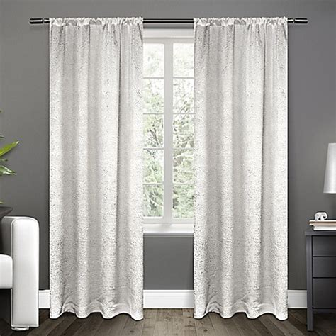 White Satin Curtains Buy Exclusive Home Embossed Satin 96 Inch Rod Pocket Window Curtain Panel Pair In White From Bed