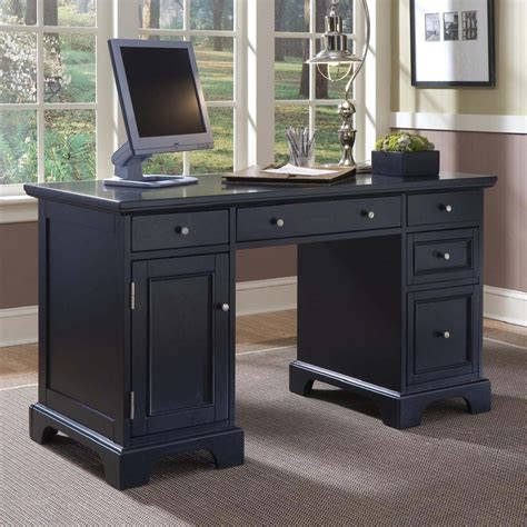 black desk shop home styles bedford black computer desk at lowes