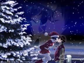 Merry christmas anime girl boy night kiss hd wallpaper search