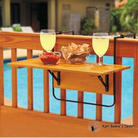 Hanging Patio Table Pool Wood Deck Decor Table Folding Patio Balcony Hanging Serv