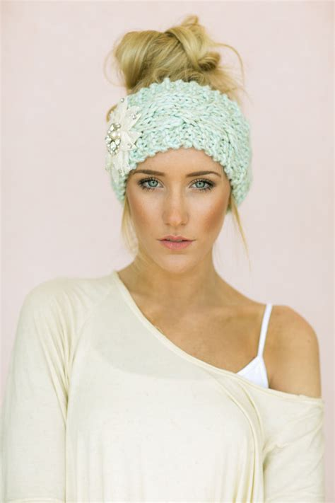 knitted head bangs styles mint cable knitted headband jeweled ear warmer by