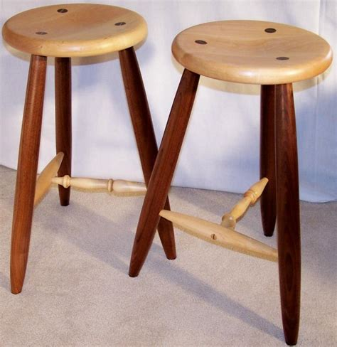 A Three Legged Stool by Varnished Three Legged Stool Jerry Hollon Woodworking
