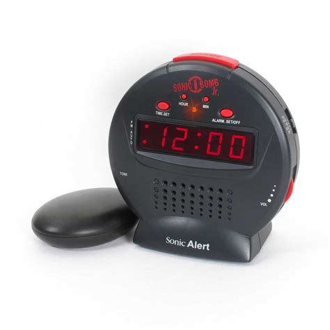 sonic alert sonic bomb junior sbj525ss travel alarm clock with bed shaker for deaf and