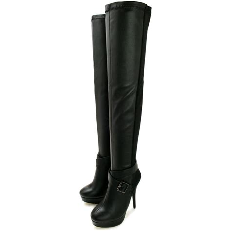 thigh high black leather high heel boots buy rachael stiletto heel platform thigh high boots