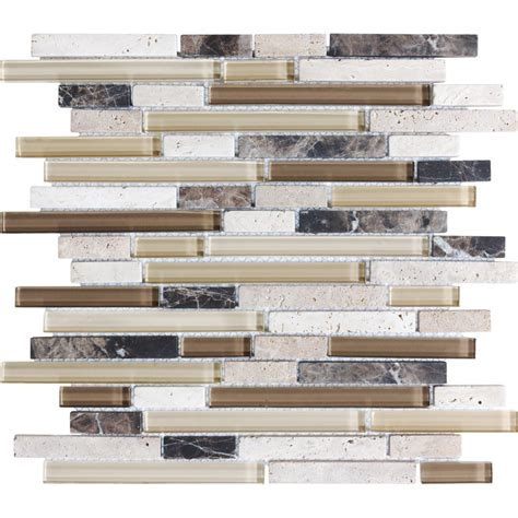 shop anatolia tile java linear mosaic stone and glass marble wall tile common 12 in x 12 in