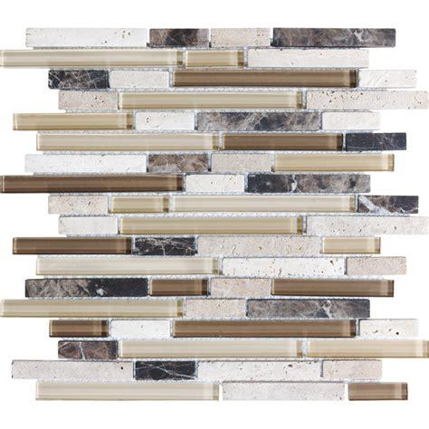Shop Anatolia Tile Java Linear Mosaic Stone and Glass Wall