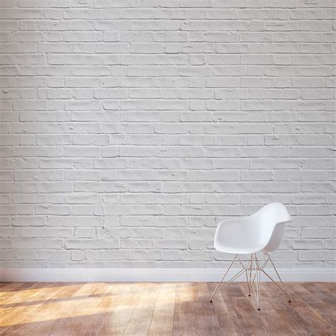 on wall white brick wall mural