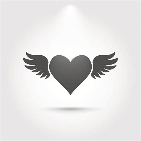 heart  wings clipart black  white  silhouette
