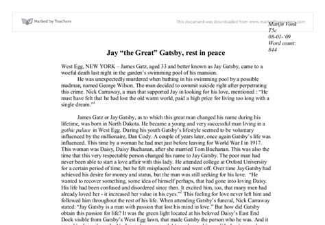 The Great Gatsby The American Essay by American Essay
