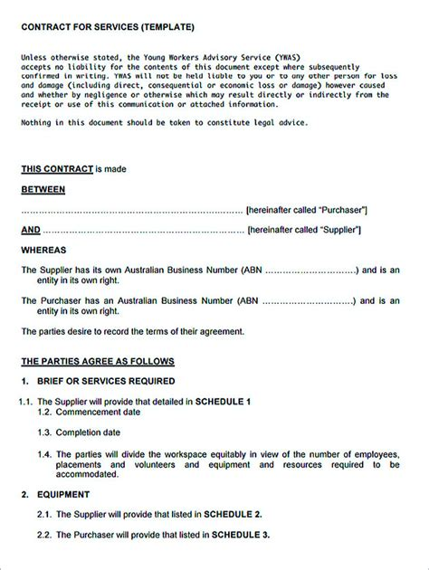 docs contract template service contract template and important terms to write