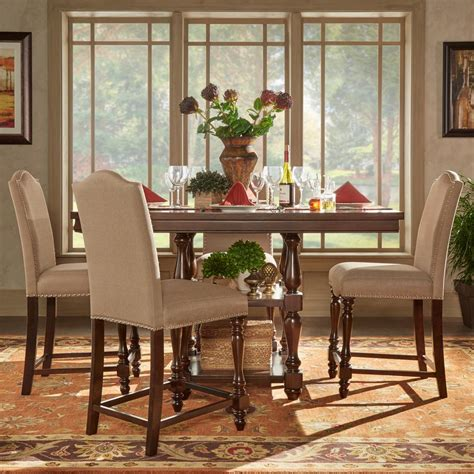 High Dining Room Sets by Homesullivan Madison 5 Piece Sand Beige Counter Height