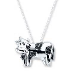 3 Initial Monogram Necklace Kay Diamond Cow Necklace 1 10 Ct Tw Black Diamonds Sterling Silver