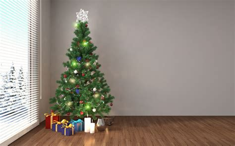 place the christmas tree in the corner and present the hd
