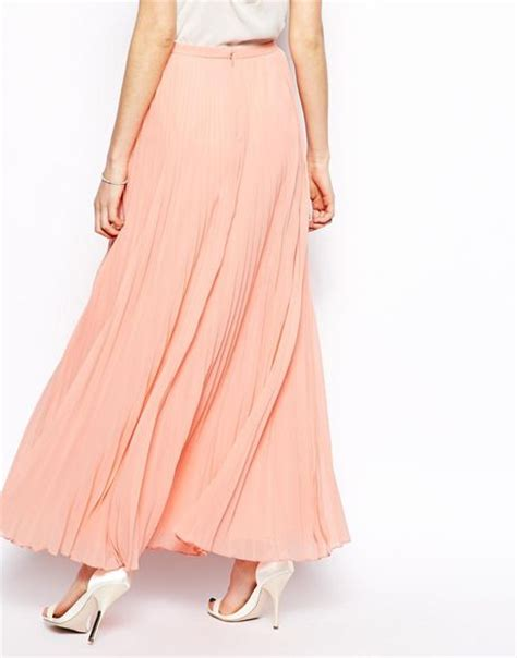 asos pleated maxi skirt in pink lyst