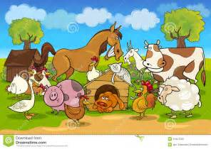 cartoon rural scene with farm animals stock vector image
