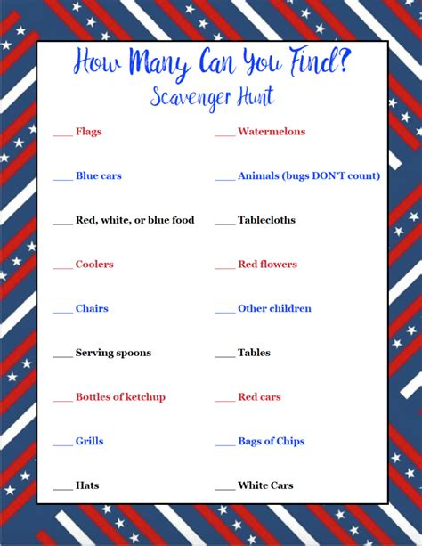 Many Find Free Printable 4th Of July Scavenger Hunts 2 Different Types