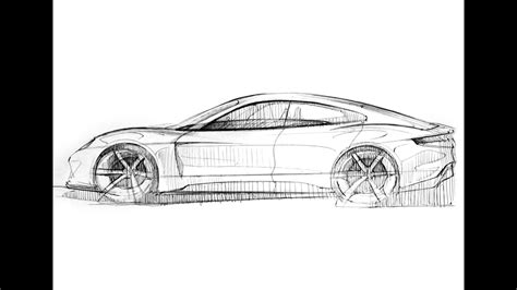 porsche mission e sketch car design sketch drawing porsche mission e concept