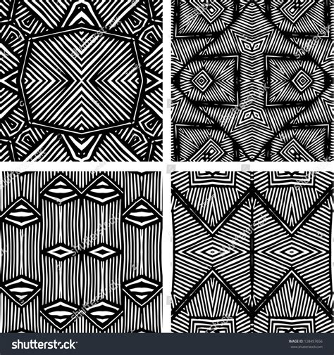 african pattern black and white set four black white african patterns stock illustration
