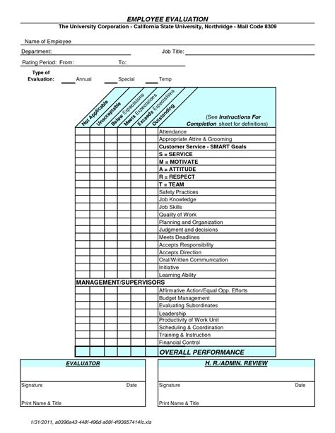 annual employee review template best photos of annual employee evaluation template