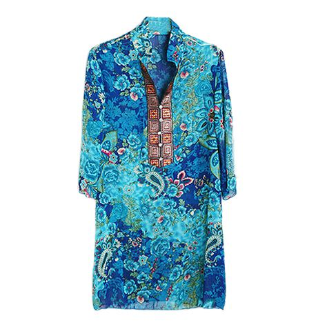summer embroidery blouse new plus size chiffon blouses bohemian indian