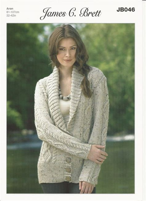 knitting pattern aran cardigan james c brett ladies cardigan aran knitting pattern jb046