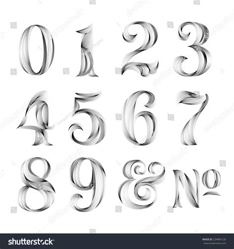 vintage tattoo numbers vintage retro style typography calligraphy numbers stock