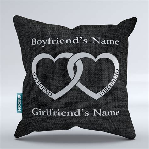 personalized boyfriend girlfriend heart throw pillow