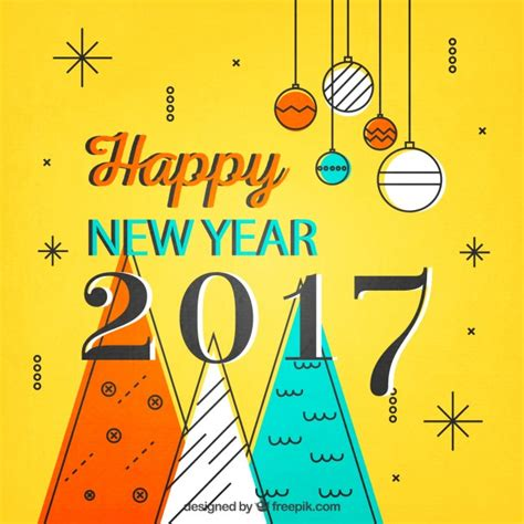 yellow new year card vector free download