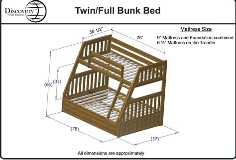 bed dimensions full discovery world furniture twin over full honey mission bunk bed kfs stores