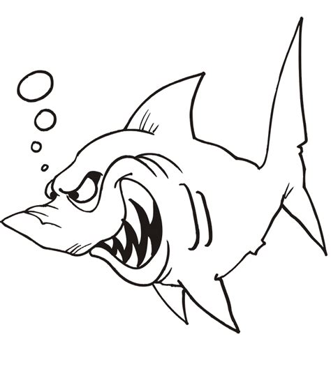 shark coloring page shark ready to attack