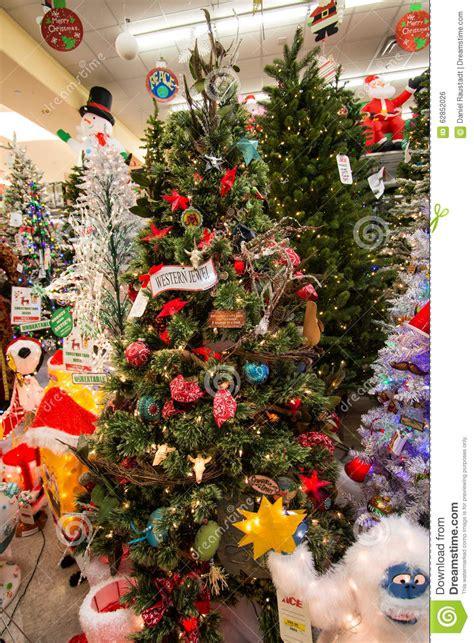 christmas holiday tree display at retail store editorial