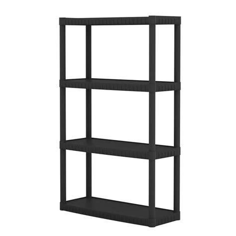 home depot hdx shelves hdx 4 tier plastic shelving unit in black 4tblk14x34 the