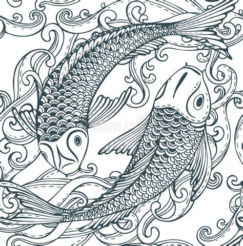 japanese koi pattern seamless vector pattern with hand drawn koi fish japanese