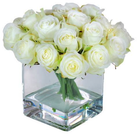 buds in square glass vase artificial