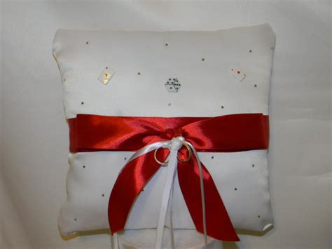 wedding ring bearer pillow white bow las vegas theme