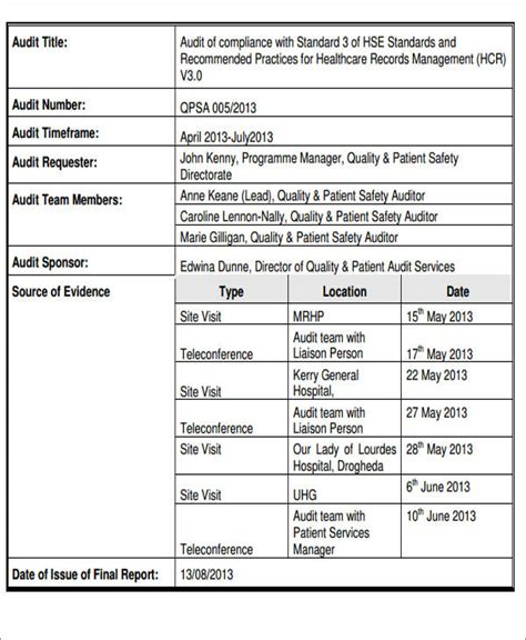 report template sle audit summary report template 28 images summary report