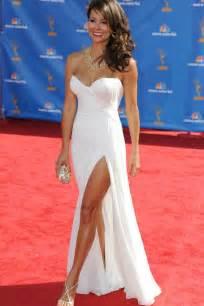 Green Wedding Dress Brooke Burke Red Carpet Dress Strapless White Chiffon Side Slit Prom Gown Starcelebritydresses