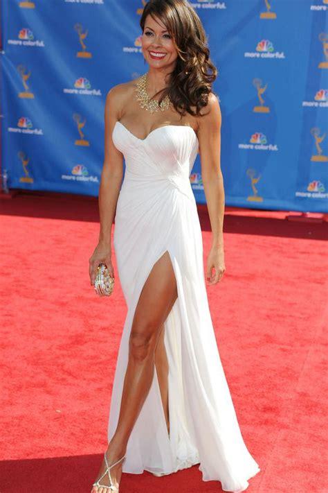 celebrity red carpet dresses kzdress brooke burke red carpet dress strapless white chiffon side