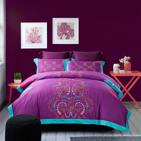 Wholesale Bed Sheets Sets Aliexpress Buy Wholesale Of 2014 100 Cotton Satin Embroidery Bedding Set Purple Duvet