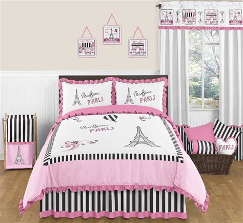 paris bedding set full sweet jojo designs pink black paris france full queen