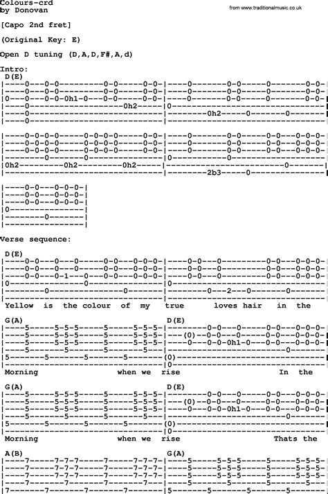 colors chords donovan leitch song colours lyrics and chords