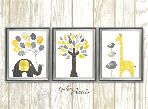 Yellow Grey Nursery Decor Yellow And Gray Nursery Baby Nursery Decor Print