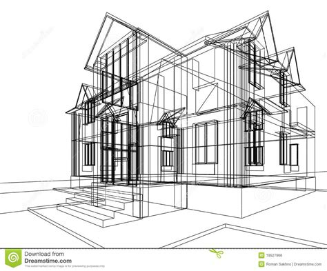 drawing with 3d house stock illustration image of house construction sketch stock illustration illustration