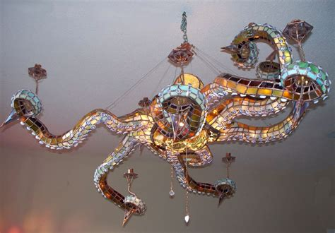 octopus light fixture with stained glass octopus chandelier creator