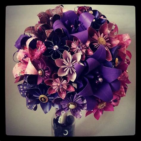 Origami Wedding Bouquet - origami paper flower bouquet wedding alternative bouquet