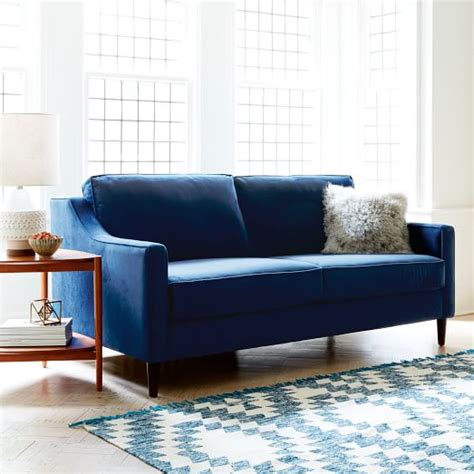 west elm velvet sofa paidge sleeper sofa ink blue performance velvet west elm